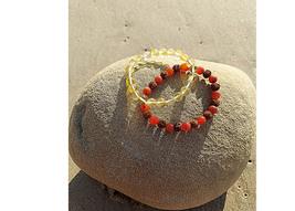 Citrine Crystal Stone and Carnelian Crystal Bracelets  - $19.99