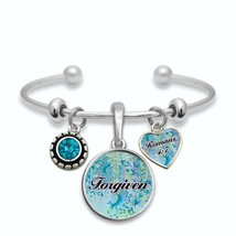 Forgiven Romans 4:7 Silver Cuff Bracelet Christian Scripture Salvation Jewelry - $13.80