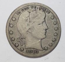 1913  Barber Quarter 25¢ Silver Liberty Head Coin Lot# 818-8