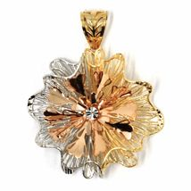 18K YELLOW WHITE ROSE GOLD FLOWER, ONDULATE, FINELY WORKED RAYS PETALS PENDANT image 3