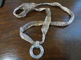 Artisan Modernist Mesh Sterling Ribbon Chain w/Sterling /18k Real Diamond Disk  - $149.99