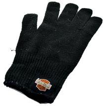 Harley Davidson Motorcycles Women's Black Knit Gloves Orange Bar & Shield image 4