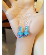 blue bead earrings red flower dangle drop glass beaded handmade jewelry  - $5.99