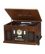 Espresso Entertainment Center AM/FM Radio CD Player Turntable Bluetooth ... - $170.18