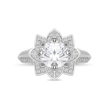 14k White Gold Over Silver Solitaire Diamond Lotus Flower Engagement Rin... - $94.99