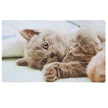 GREY CAT KITTEN PAW CREAM PINK RUBBER WELCOME DOOR MAT 44CM X 73.5CM - $31.23