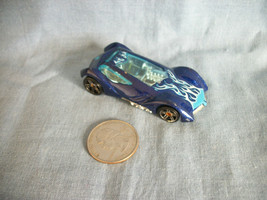 Hot Wheels 2002 Mattel Sinistra Metallic Blue Car Made in Malaysia - $1.19