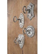 Rustic SET of FOUR VINTAGE KEY METAL HOOKS Country Farmhouse Wall Primitive - £35.02 GBP