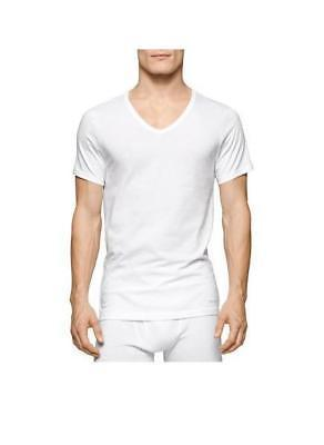 Calvin Klein Men's 3 Pack Cotton Classics Slim Fit V-Neck T-Shirt, White, Small