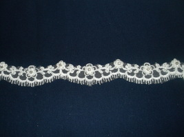 White Silver/Rhinestone Beaded Corded Lace - $9.46