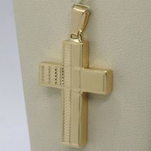 18K YELLOW GOLD PENDANT SQUARE STYLIZED CROSS, WORKED, SMOOTH, MADE IN ITALY image 4