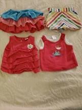 Gymboree Rainbow Cabana Baby Girl 4 Piece Set 12-18 Doted Skort Is 18-24 (Small) - $30.00