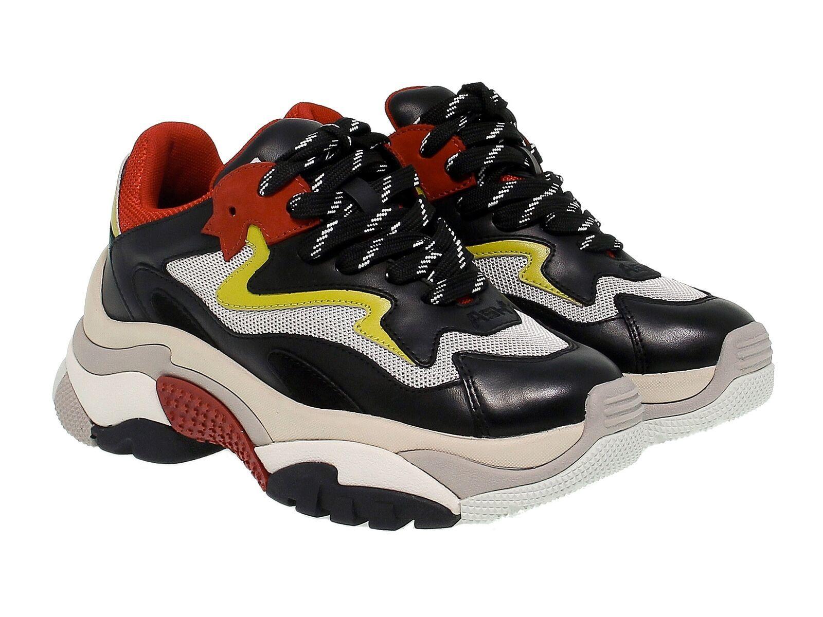 Sneakers ASH ADDICT.NR in pelle e tessuto nero e rosso - Scarpe Donna