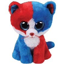 Ty Beanie Boos Cute Animals Blue and Red Face Cat Plush Toy Doll Christm... - $10.80