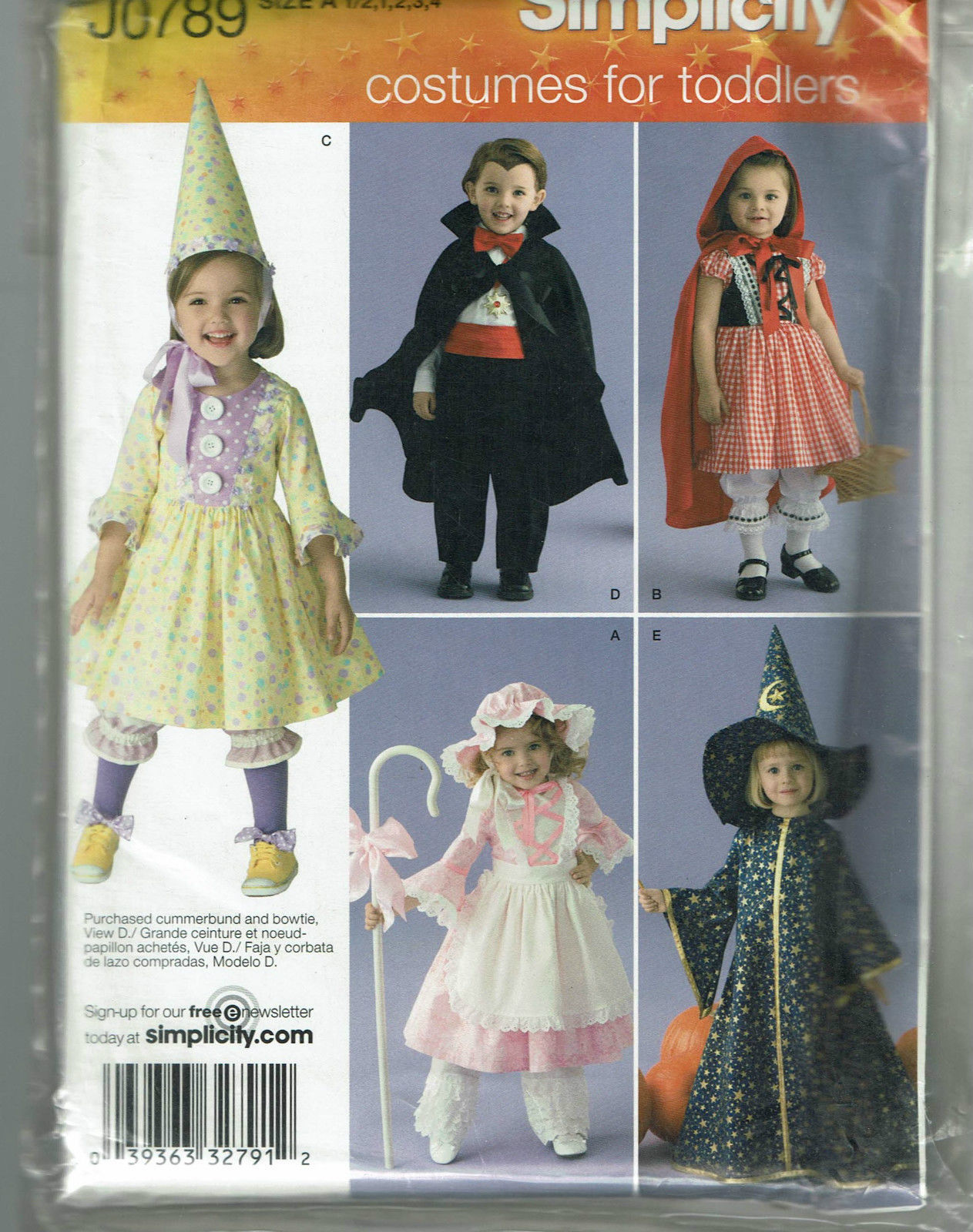 SIMPLICITY PATTERN 0789 VARIOUS TODDLER COSTUMES SIZE A (1/2 -4)