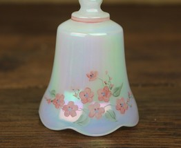 VINTAGE SIGNED FENTON WHITE OPALESCENT BELL HAND PAINTED FLOWERS - $18.99