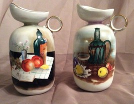 NIPPON Style PITCHER Set of 2 Appears Hand Painted Fruits Tuscan Olive Oil - $21.77