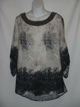 Alberto Makali Top Shirt Embellished Roll Tab Sleeve Size LARGE L  - $23.19