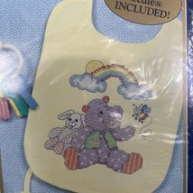 Noahs Ark 42698 Bucilla Baby Bib Pair 2 Stamped Cross Stitch Kit Linda Gillum - $15.94