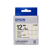 12mm Black on Candy Stripe - Epson LABELWORKS LK-4EBY Tape Cartridge (Pack of 4) - $82.99