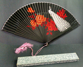 Vintage Asian Folding Hand-Held Paper Fan with Box, Peacock Styling, 9-1... - $16.29
