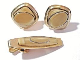 MIDCENTURY GOLD TONE LUCITE ATOMIC STYLE CUFFLINKS TIE CLIP SET VINTAGE ... - $22.00