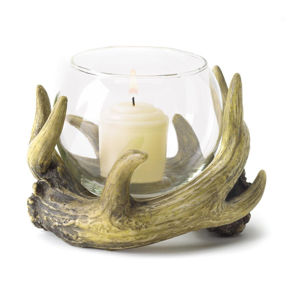 Faux Deer Antler Candleholder Candle Rustic Hunting Lodge Cabin 38444