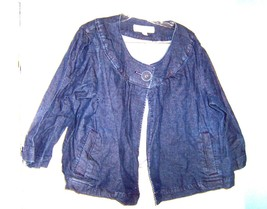 Sz 24W/26W - Merona Blue Jean Denim One Button Shirt Jacket Size 24W/26W - $33.24