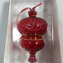 2002 Hallmark Keepsake Ornament PERFECT HARMONY LOVE Etched Glass RED  - $15.97