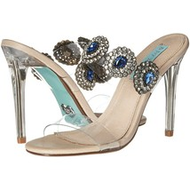 Betsey Johnson Owen Clear Plastic Blue Crystal High Heel Pumps Sandals 6... - $78.71