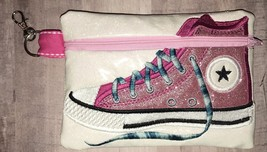 Pink with White Background Converse High Top zip bag with clip - $14.00