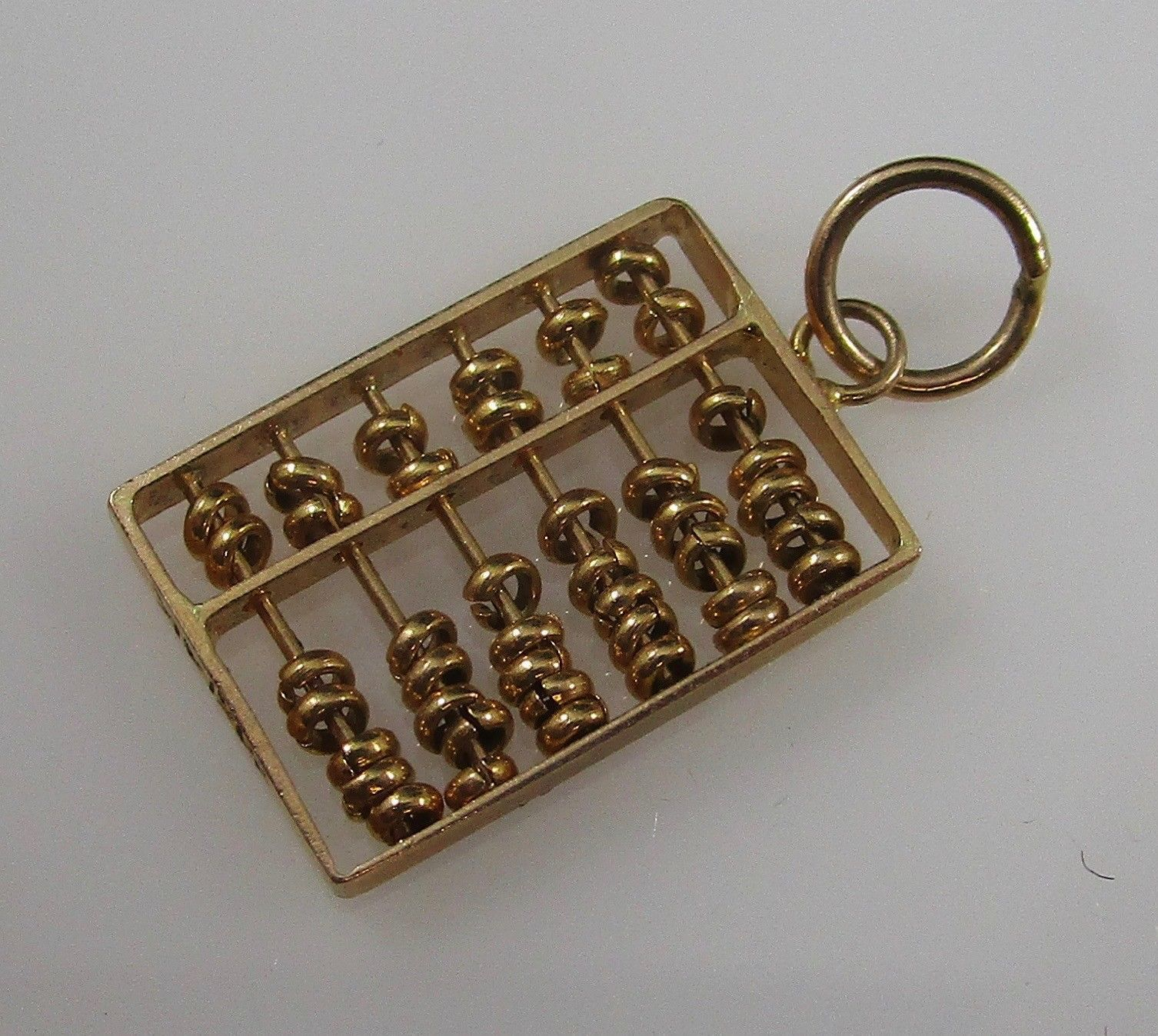 14K GOLD ABACUS Vintage Charm Pendant moveable parts marked 585 14K - FREE SHIP