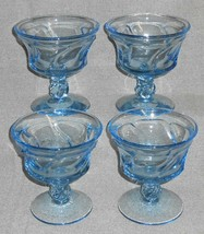 Set (4) Fostoria Glass JAMESTOWN BLUE PATTERN Sherbets or Champagnes - $31.67