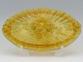 Vintage Fenton Art Glass Colonial Amber Rose Pattern Large Oval Trinket Box 1968 image 3