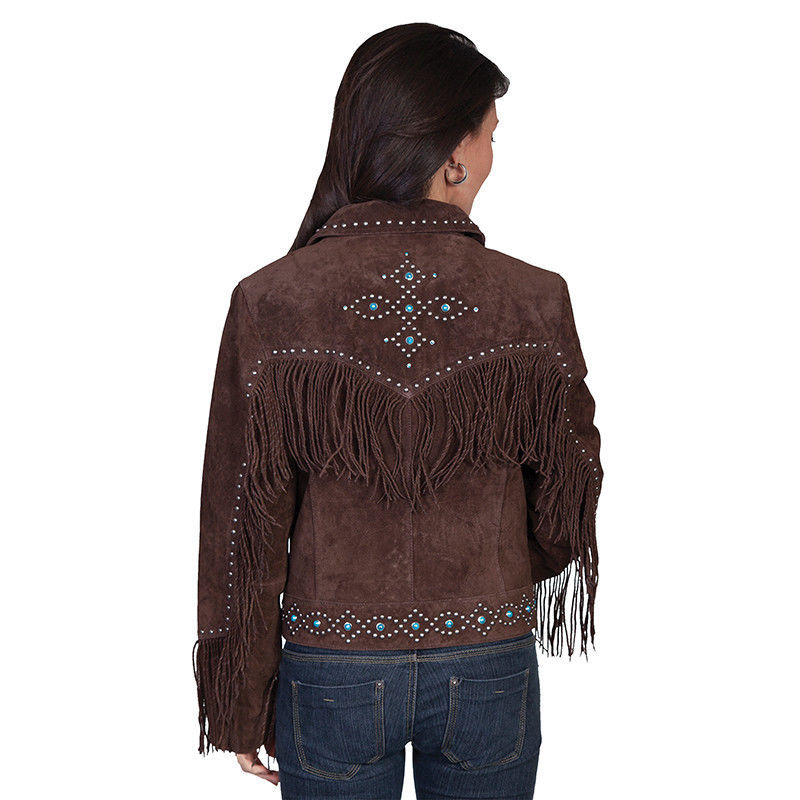 QASTAN Women's New Brown Fringes / Silver Studs Suede Cow Leather Jacket WWJ16B image 2
