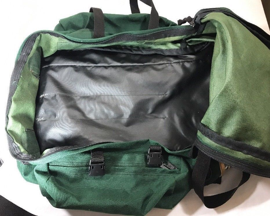 VTG JanSport Backpack Leather Bottom Green Made USA Large Camp Sport Bag Duffle