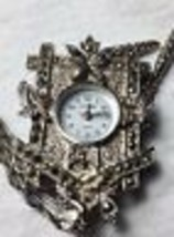 Vtg Marcasite Cuckoo Clock Watch Pendant Necklace Pin Brooch Chain New B... - $28.04