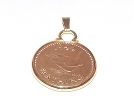 1952 Farthing Coin Gold Plated Pendant ready to hang - $10.84