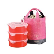 Lock&Lock 54-Fluid Ounce Round Lunch Box with Pink Bag, 6.7-Cup, Divider - $70.40