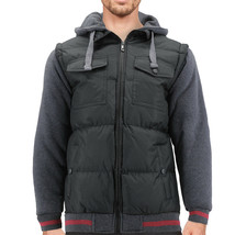 Men's Premium Hybrid Puffer Utility Insulated Hooded Quilted Zipper Jacket image 2