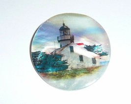 """Beautiful Lighthouse w/ Building on MOP - Mother Pearl Shank Button 1-3/8"""" - $11.99"""