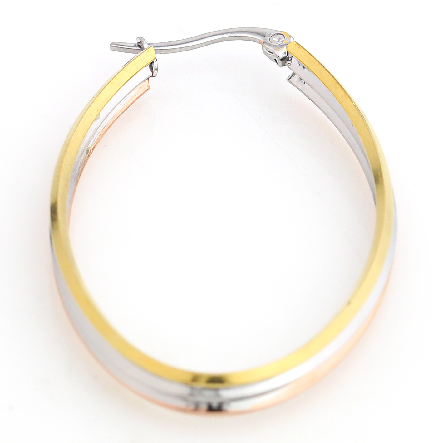 Polished Oval Tri-Color Silver, Gold & Rose Tone Hoop Earrings- United Elegance