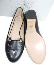 Charlotte Olympia Blck Leather Kitty Smoking Slipper Flats Shoe Ballets 40-9 Cat image 8