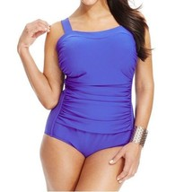 INC International Concepts One Piece Sz 20W Blue Swimsuit Ruched Swim 47... - $39.53