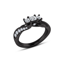 14k Black Gold Plated 925 Pure Silver Three-Stone Wedding Ring Princess Cut CZ - $78.33