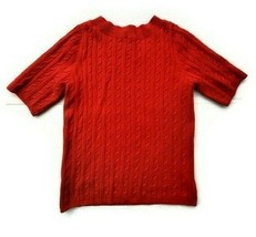 Talbots womens red short sleeve cable knit cotton basic sweater size L - $19.79