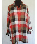 Maggie And Max Red Plaid Button Down Long Sleeve Work Ready Size 1X - $20.79