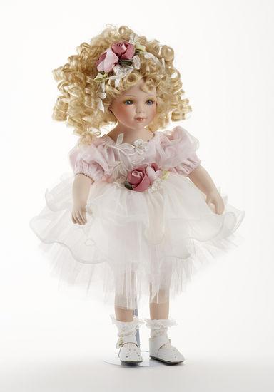 16 Curly Hair Blonde Porcelain Pink Tutu Dress Doll Roxanne, Delton 7260-6. 3+