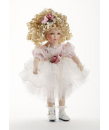 "16"" Curly Hair Blonde Porcelain Pink Tutu Dress Doll Roxanne, Delton 7260-6. 3+ - £29.79 GBP"