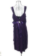 DRESSBARN Purple V Neck Sleeveless Midi Dress Sz12 - $36.10